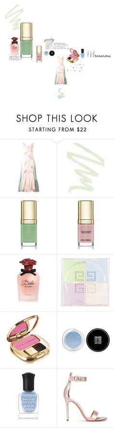 """""""Happy Endings"""" by j-mgreene ❤ liked on Polyvore featuring beauty, Peter Pilotto, Dolce&Gabbana, Givenchy, Deborah Lippmann, Gianvito Rossi, Pink, Blue and GREEN"""