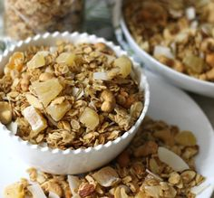Coconut Lime Granola - A crunchy, slightly sweet bowl of baked oats with flavors of coconut, hints of lime and dried fruit.
