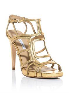 Diane Von Furstenberg Jeanette Shoes in Gold   Lyst