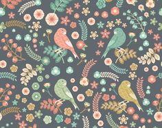 ACHEI na loja QCOLA - Papel de Parede Flores Pássaros Vintage