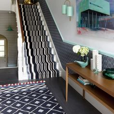 Grey patterned floor tiles hallway flooring ideas ideal home improvement winning with monochrome striped staircase runner Tiled Hallway, Modern Hallway, Hallway Flooring, Contemporary Stairs, Blue Hallway, Hallway Colour Schemes, Hallway Colours, Room Colors, Hall Colour