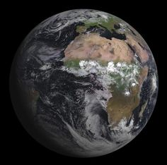 On July 5, 2012, the European Space Agency launched the Meteosat Second Generation-3 (MSG-3) weather satellite into a geosynchronous orbit about 40,000 kilometers above the Earth. It has several cameras on board, including the Spinning Enhanced Visible and Infrared Imager (SEVIRI) that takes (duh) visible and infrared pictures in 12 different wavelengths (colors). The first image from that camera was just sent back, and it's an incredibly beautiful shot of our home world