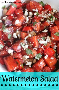 3 cups chopped seedless watermelon 1 to 1½ cups chopped cherry tomatoes ½ cup chopped red onion 2 tbsp chopped basil 2½ tbsp olive oil 2 Tbs balsamic vinegar salt and pepper to taste reduced fat feta to garnish