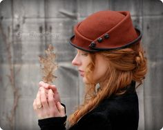 Woman's rust-colored victorian felt hat by GreenTrunkDesigns on Etsy