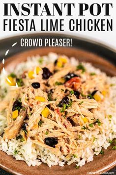Instant Pot Fiesta Lime Chicken is a delicious blend of creamy chicken with black beans, corn and more. Try it with rice, tacos, salad and more! Soup Recipes, Chicken Recipes, Dinner Recipes, Cooking Recipes, Dinner Ideas, Fiesta Lime Chicken, Meals Everyone Loves, Chicken Over Rice, Creamy Chicken