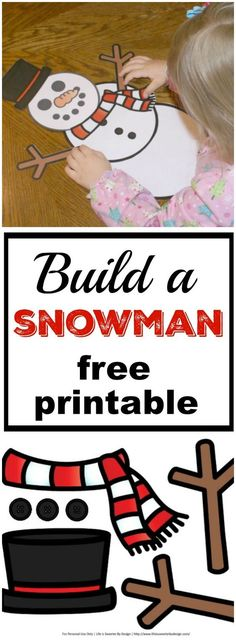 Build a Snowman free printable will keep your kids busy this winter! A snowman printable that you can use over and over for a kid friendly activity when it is cold outside!