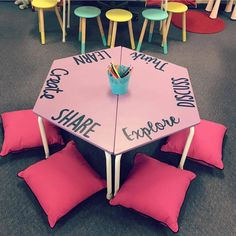 Thecolourfulclassroom flexible seating table... maybe near library?