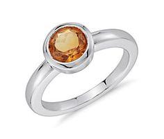 Madeira Citrine Round Bezel-Set Ring in Sterling Silver