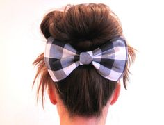 Big Dolly Bow // Navy and White Check Hair Bow // by hellobettybow