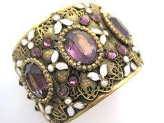 Vintage Bangle Bracelet  Czech Victorian Revival by VintageInBloom, $186.00