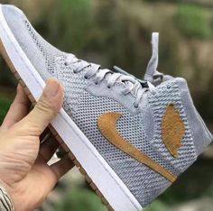 734077b05ce934 First images of the Air Jordan 1 Flyknit Wolf Grey colorway (style code as  well as the release date and pricing information.