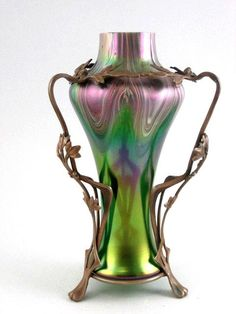 This is so classic & gorgeous!!!!  Exceptional Circa 1890 Jugendstil  Loetz Vase In Metal Art Nouveau Armature