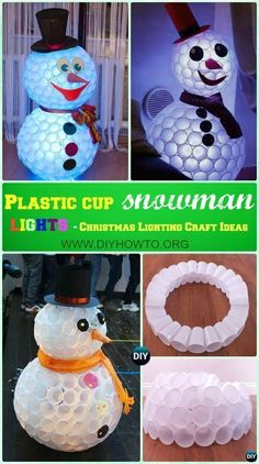 DIY Plastic Cup Snowman Lights Instruction -DIY Lights Ideas Crafts DIY Outdoor Christmas Lighting Craft Ideas: Add Christmas lights into outdoor landscaping from front garden, to porch and backyard or Indoor, Diy Christmas Lights, Christmas Snowman, Christmas Holidays, Christmas Ornaments, Christmas Porch, Christmas Vacation, Christmas Wreaths, Snowman Crafts, Christmas Projects