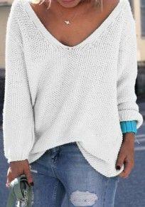 White Plain V-neck Long Sleeve Loose Fashion Pullover Sweater Ropa De Moda ebd2015f75c3