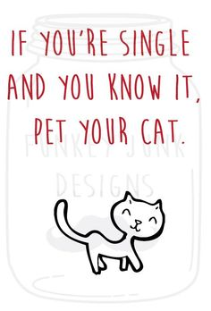If You're Single And You Know It Pet Your Cat. Valentines Day Card For Single People on Etsy, $5.00