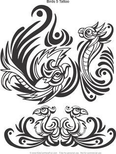 Birds 5 Tattoo Design Coloring Page Kidscanhavefun