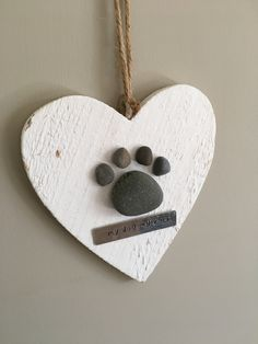 Paw print on hanging heart - Paw print gift - Bespoke Pebble Art - Made to order gifts - personalised - dog lover - cat lover - handstamped  #Cat #Dog #gift #hand-stamped #heart #metalstamping #pawprint #pebbleart #Rusticchic #walldecor
