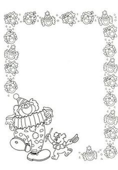 cadre clown Borders For Paper, Borders And Frames, Coloring Book Pages, Coloring Pages For Kids, English Creative Writing, Circus Activities, Clown Crafts, Kindergarten Portfolio, Free Printable Stationery