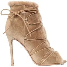 GIANVITO ROSSI 100mm Shearling Lace-Up Ankle Boots - Beige (9 905 SEK) ❤ liked on Polyvore featuring shoes, boots, ankle booties, heels, sandals, beige, heeled booties, high heel ankle booties, high heel boots and open toe lace up booties