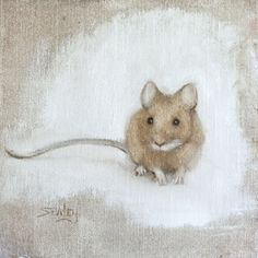 "Leslie Sealey, ""Mouse"", oil 6x6"""