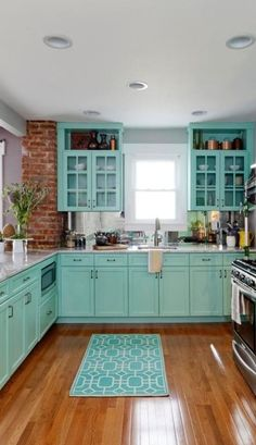 Blue and Green Kitchen Accessories Awesome 133 Best Tiffany Blue Kitchen Decor Ideas kitchen accessories Blue Kitchen Cabinets, Blue Kitchen Decor, Kitchen Redo, Kitchen Colors, Kitchen Ideas, Green Kitchen, Duck Egg Blue Kitchen, Teal Cabinets, Colorful Kitchen Decor