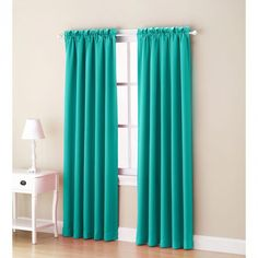 Sun Zero Galia Rod Pocket Room Darkening Window Curtain Panel or Valance (Sky - 63 Inches), Blue, Size 54 x 63 (Polyester, Solid) 3d Curtains, Black Curtains, Rod Pocket Curtains, Room Darkening Curtains, Panel Curtains, Valance, Home Cooler, Living Room Windows, Living Rooms