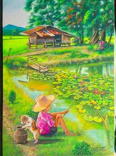 Peaceful day pieces) – Miracles from Nature Nature Paintings, Beautiful Paintings, Beautiful Landscapes, Art Village, Nature Pictures, Art Pictures, Landscape Art, Landscape Paintings, Cottage Art