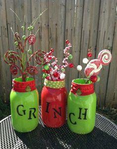 Set of 3 hand painted Grinch mason jars Grinch Party, Grinch Christmas Party, Christmas Mason Jars, Office Christmas, Christmas Holidays, Mr Grinch, Christmas Parties, Christmas Carol, Christmas Projects