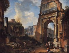 Giovanni Paolo Panini (Piacenza 1691 - 1765 Rome) - Arch of Titus. Arch Of Titus, Web Gallery Of Art, Neoclassical Architecture, European Paintings, Oil Painting Reproductions, Environmental Art, Vintage Artwork, Ancient Rome, A4 Poster