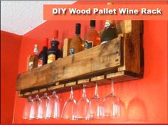 DIY Wood Pallet Wine Rack, but make sure it's a food grade pallet