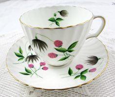 Adderley Clover Tea Cup and Saucer, Vintage Bone China
