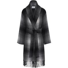 T BY ALEXANDER WANG Shawl Collared Wool Coat // Wool blend coat (€1.098) ❤ liked on Polyvore featuring outerwear, coats, checkered coat, black and white checkered coat, oversized coat, tie belt and woolen coat
