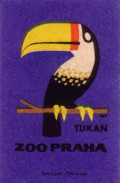 Prague Zoo matchbox label