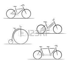 cycle racing: Vector set of bicycle silhouettes on a white background Illustration