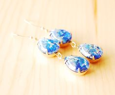 Blue Fire Opal Earrings, Harlquin Opal Pear, Long Drop Earrings, 14K Gold Filled, Upcycled VINTAGE Czech Glass Earrings, Bridesmaid Jewelry by AnOldSoulCreations, $40.00