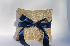 Gold & Navy Sequin Wedding Ring Pillow. Gold by BabysGotCakeGifts