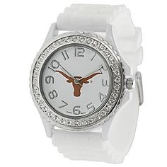 Show your team support with this Texas Longhorns jelly watch!  Featuring a white silicone strap and sparkling rhinestone accents, this watch will surely be your go-to accessory!