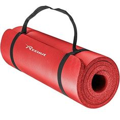 Reehut 1/2-Inch Extra Thick High Density NBR Exercise Yoga Mat for Pilates, Fitness & Workout w/ Carrying Strap (Red) ** Check out this great product.