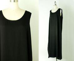 90s Vintage Simple Black Tunic Maxi Dress / Medium by decades, $42.00