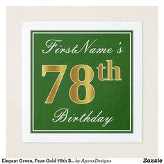 Elegant Green Faux Gold Birthday Name Paper Napkin - birthday gifts party celebration custom gift ideas diy Birthday Gifts For Teens, 40th Birthday Parties, 20th Birthday, Birthday Name, Birthday Diy, Script, Birthday Greeting Cards, Paper Napkins, Decoration