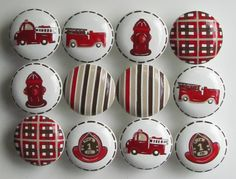 Hand Painted Fire Truck Knobs - Hat, Antique Engines,  Hydrant - Brown and Red - Size 2 Inch - Set of 12. $84.00, via Etsy.