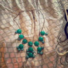 Teal fashion necklace! Never worn, but I've owned it forever. It draped very nicely, but too long for me :/ no signs of wear. Jewelry Necklaces