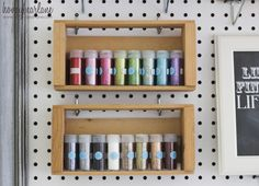 I love this so much! Pegboard craft organizer