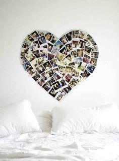 Fotos von Freunden und unserer Hochzeit über dem Bett ... evtl. auf farbiger Wand