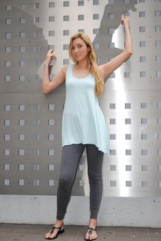 Light Blue Swing Top in Eco-Friendly Knit @FineThreadz #fashion  $35.00
