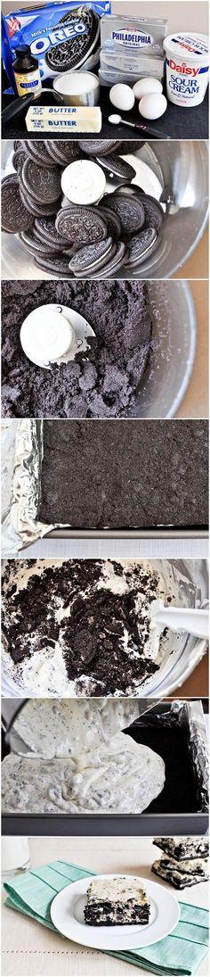 Cookies and Cream Cheesecake Bars | CookJino