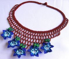 Mexican Huichol Beaded flower necklace by Aramara on Etsy, $25.00