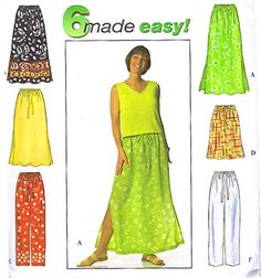 Plus Size SKIRT & PANTS Sewing Pattern - 6 Different Skirts - XL Sizes 18-24