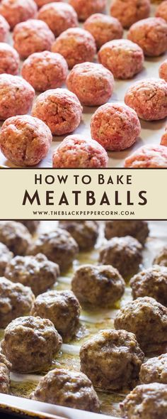 How to Bake Meatballs in the Oven Recipe - Cooking meatballs has never been easier than baking them in the oven. A simple recipe for meatballs that can be used in spaghetti sauce, with honey garlic sauce, for swedish meatballs and more! Oven Recipes, Meat Recipes, Baking Recipes, Snack Recipes, Snacks, Dinner Recipes, Healthy Recipes, Oven Baked Meatballs, How To Cook Meatballs