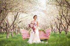 Gorgeous rosy orchard bridals, Stephanie Pass Photography, Florivore Events, Garland, Spring Bridals, Wedding, Blossoming Orchard, Blossom Bridals, couch in an orchard, couch bridals, Maggie Sottero Dress, Bridal Closet, Greek goddess bridals